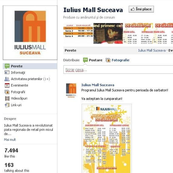 Pagina de Facebook Iulius Mall Suceava