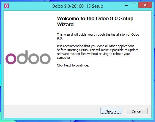 Bienvenida al instalador de Odoo 9