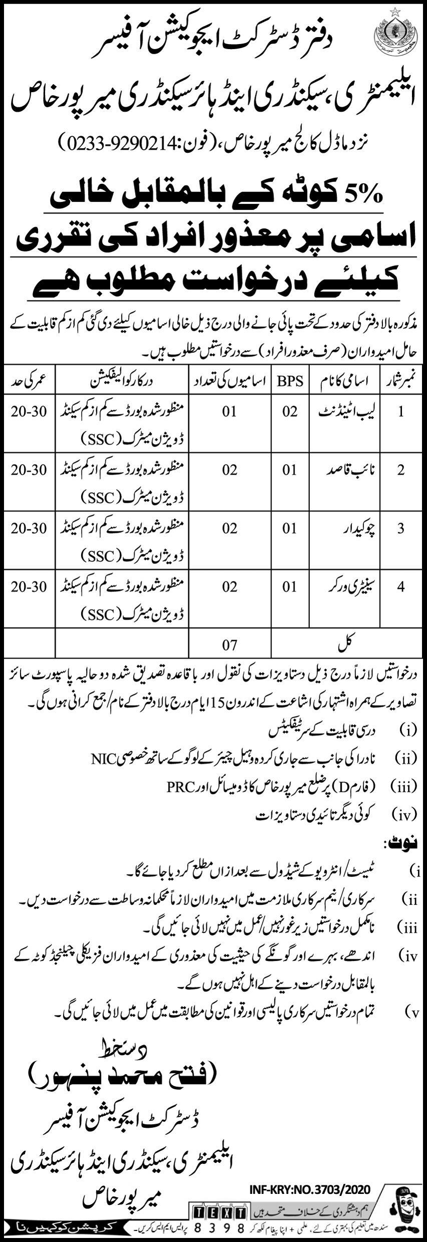 Education Department District Mirpur Khas Jobs December 2020