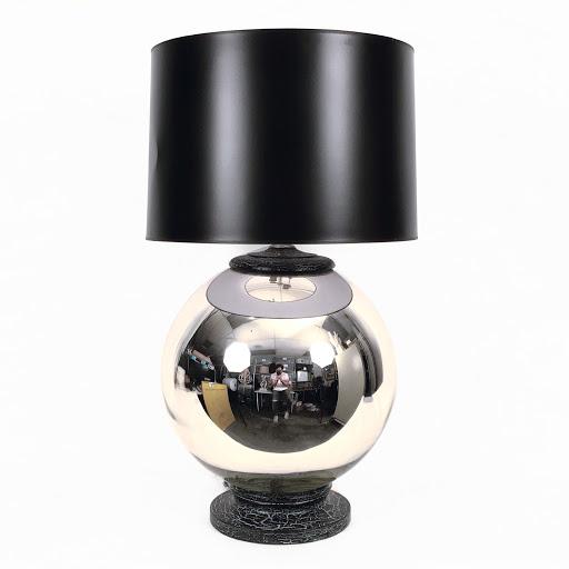John Salibello Antiques Ltd. Spherical Mercury Glass Lamp With Distressed  Black Base U0026 Cap | Shophousingworks