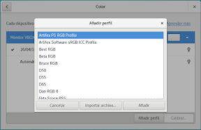 Configurar el hardware en GNOME. Perfil ICC.