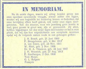 Overlijdensadvertenties voor Dr. H.A. Thiadens en de andere verzetsstrijders die op de valreep voor de bevrijding van Enschede door de Duitsers weren vermoord. - Het Parool April 1945