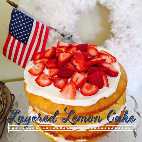 Lemon cake with whipped cream, 4th of a July dessert
