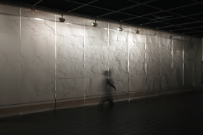 박동삼, Soft flying, 2011, 1100x360x300cm, Stainless-steelnet Casting, Light 1