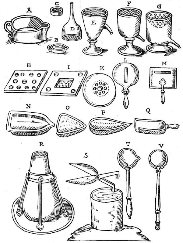 Chemical Utensils From Andreas Libavius 1606, Alchemical Apparatus