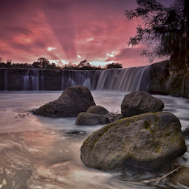 Parigi waterfall  by Adhy L Occhio d'Aquila - Landscapes Sunsets & Sunrises ( sky, waterscape, waterfall, sunset, river, landscape,  )