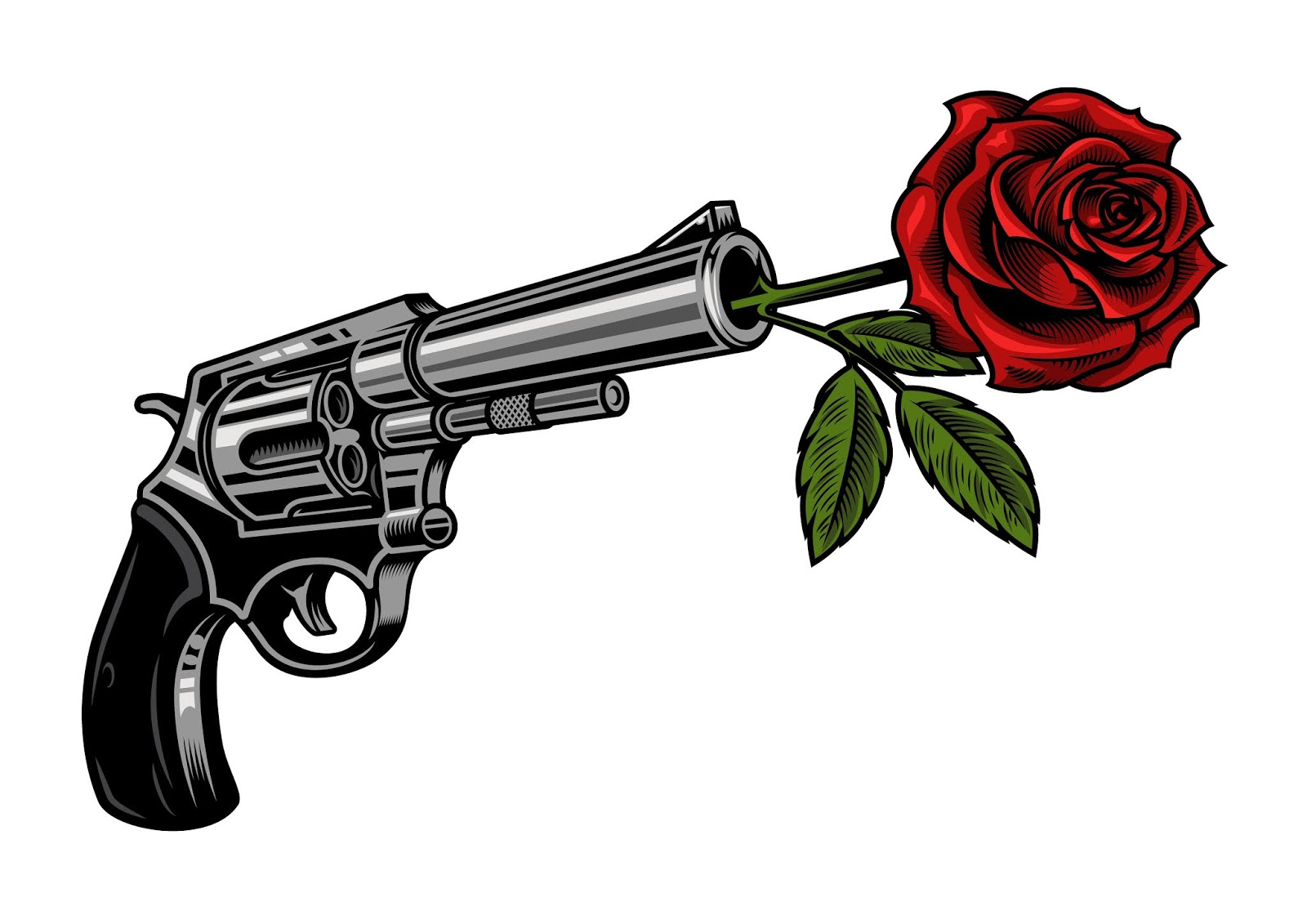 Gun With Rose Free Download Vector CDR, AI, EPS and PNG Formats