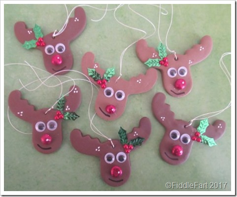 Fimo reindeer tags, parcel charms, tree decorations
