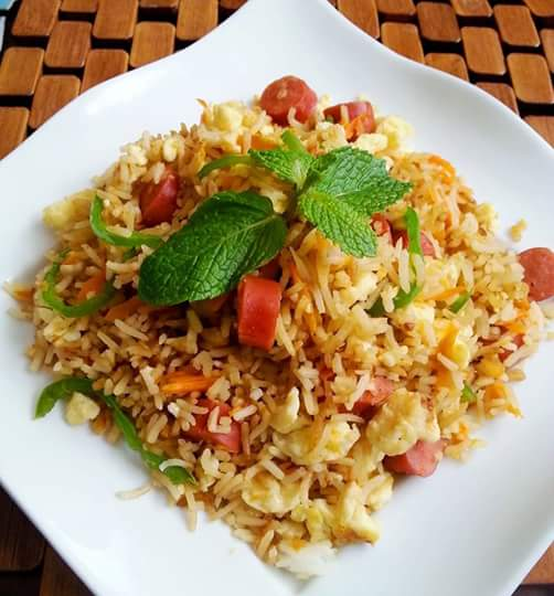 Egg and Hot dog fried rice