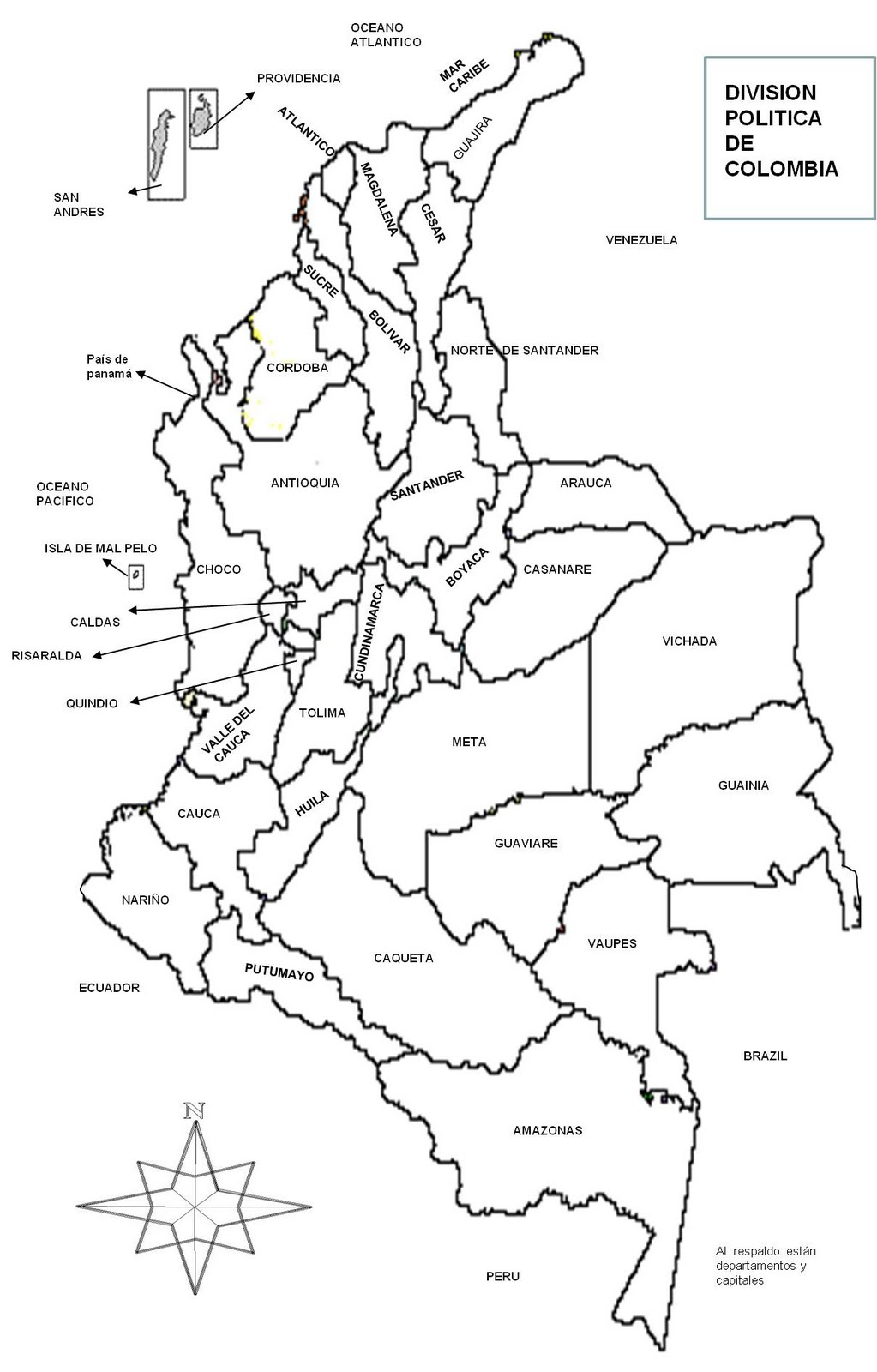Mapa politico de Colombia con sus departamentos y Capitales blanco y negro4