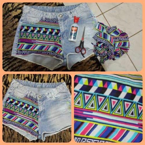 como fazer customização de short jeans com estampa étnica