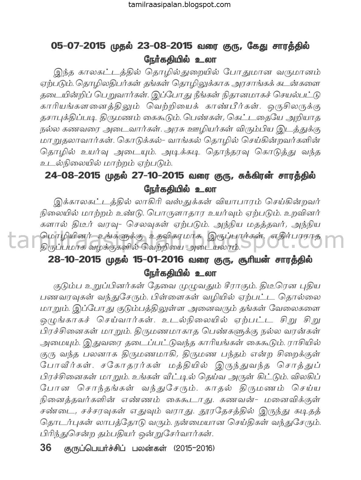 Simmam Guru Peyarchi Palan-2015-2016 Free Online