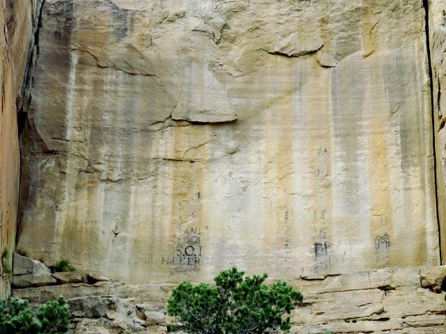 Inscription wall near Birch Spring in Huntington Canyon