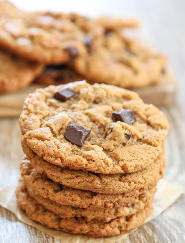 a stack of flourless almond butter cookies