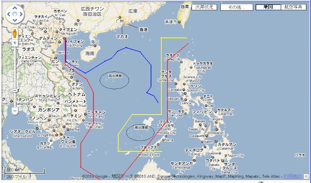 南シナ海でも他国の領海を中国の領海と主張(赤い線)