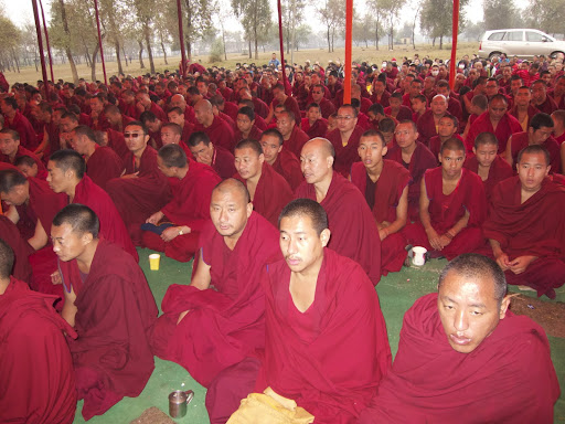 Monks from Sera Je Monastery during long life puja offered to Lama Zopa Rinpoche, Bodh Gaya, India, January 2012