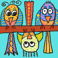 Child's drawing of 3 patterned birds with one upside down