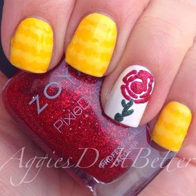 Beauty and the Beast nails by Aggies Do It Better