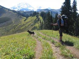 Bob and Cassidy, hiking up Skyline Divide ridge.