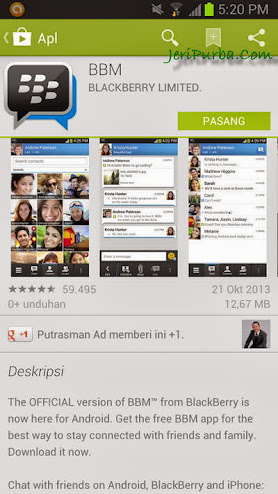 Download BBM For Android melalui Google Play Store