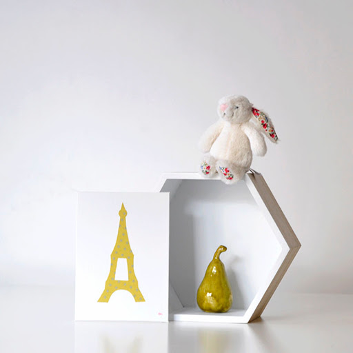 Grand cadre papillons Tour Eiffel Jaune Mille Coquelicots