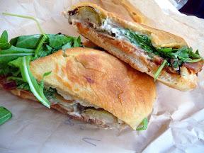 Bunk Sandwiches' winter vegetarian sandwich: Roasted Brussels Sprouts, Apple Chutney, Gruyere & Horseradish sandwich.