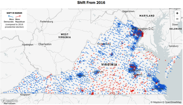 Virginia voting shift since 2016