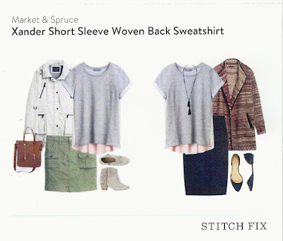 Market & Spruce Xader Short Sleeve Woven Back Sweatshirt from my May 2016 Stitch Fix box