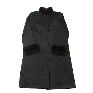 Mink Fur-Lined Quilted Satin Coat