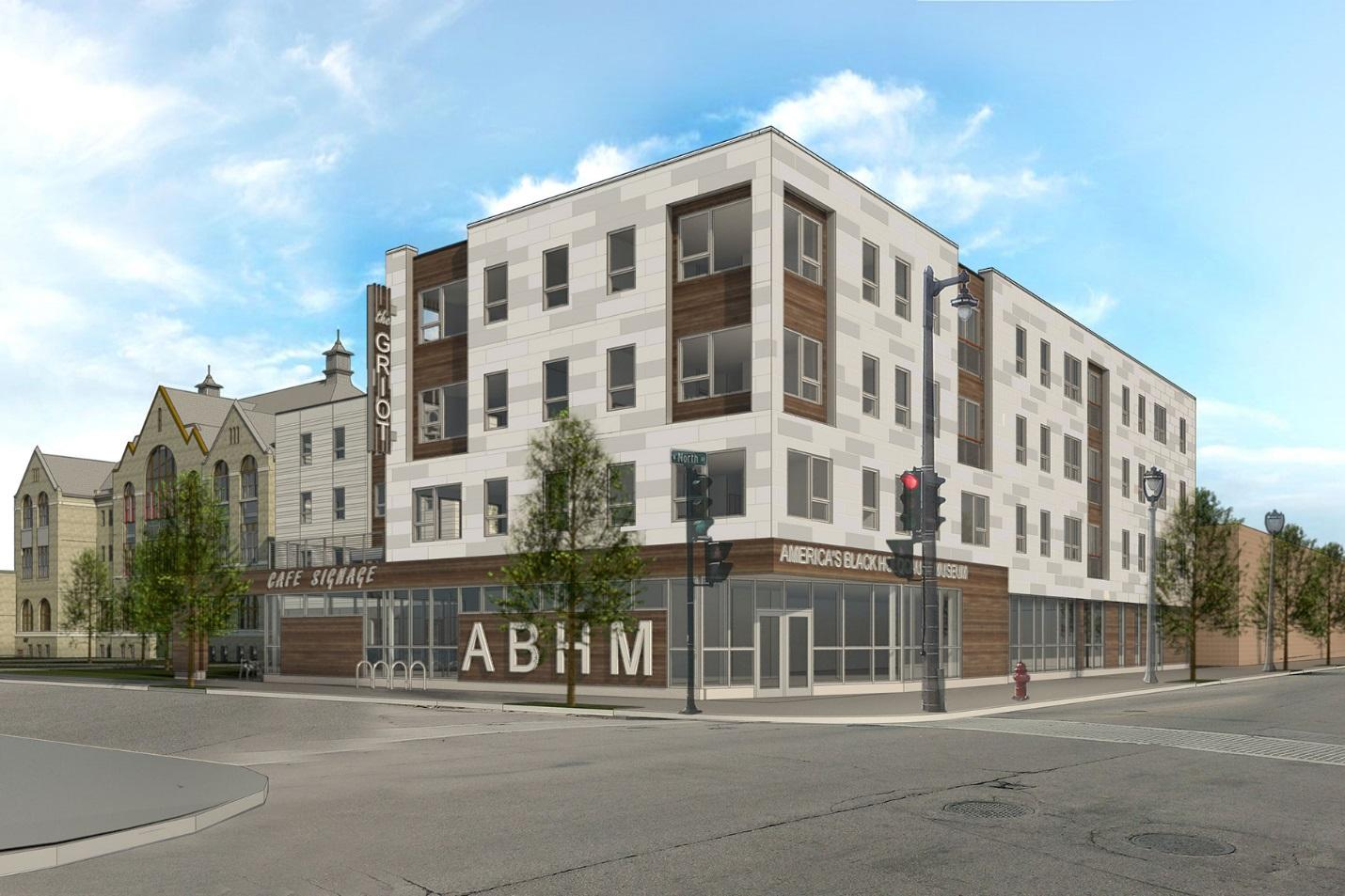 A rendering of The Griot, on the corner of 4th Street and North Avenue. (Photo courtesy of ABHM)