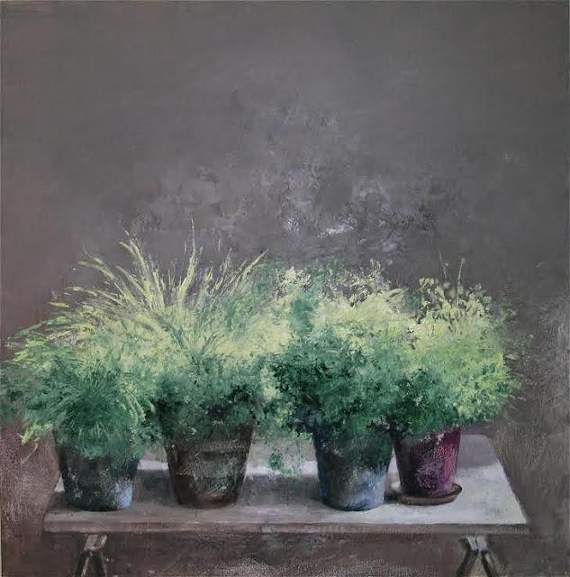 Macetas,pintura al óleo del pintor José Ato