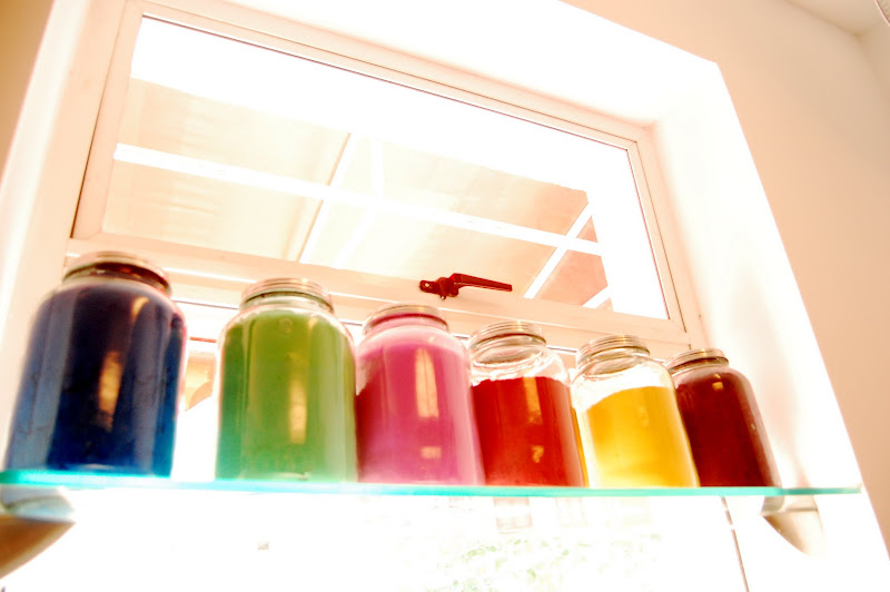 Colour filled jars at Chawla's, Golpark, Calcutta