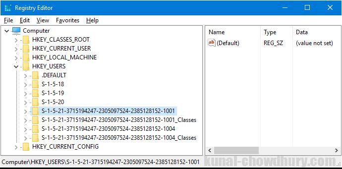Registry Path to retrieve users SID (www.kunal-chowdhury.com)