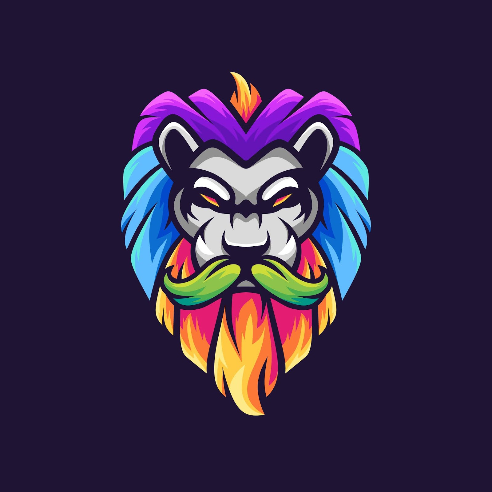 Lion With Mustache Colorful Mascot Logo Design Free Download Vector CDR, AI, EPS and PNG Formats