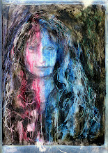"""Photo: (Earlier version, too bright) 'Woman in Red and Blue,' 21cm x 29cm, 8"""" x 11.5"""", 2012, Moleskine folio Sketchbook, mixed media. This is what the painting looks like in bright natural daylight."""