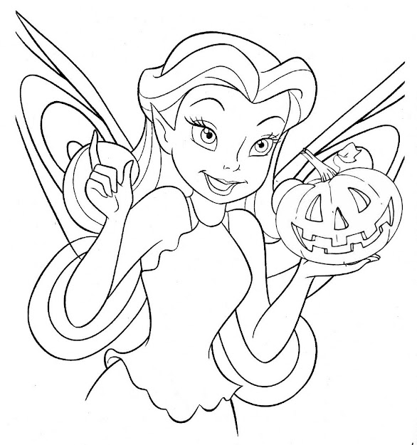 Tinkerbell  Free Disney Halloween Coloring Pages