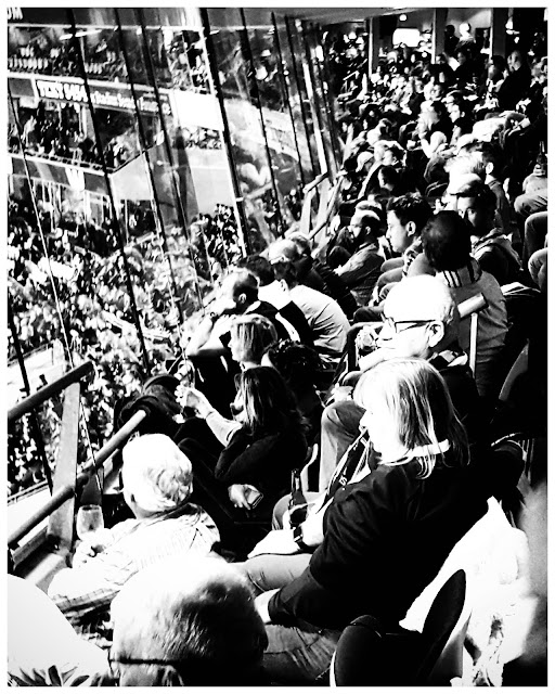 Black and white photo of rugby watching from the lounge at Wellington Stadium (NZ)