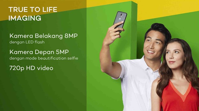 Moto E3 Power true to life imaging kamera belakang 8MP merekam video HD 720p dengan LED flash dan kamera depan 5MP dengan mode meautification selfie