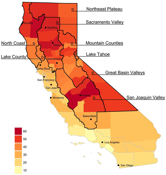 Total number of days with any smoke plumes by county from 1 May 2015 through 30 September 2015. California air basins in the study region are labeled and outlined in black, those excluded in gray. Graphic: Wettstein, et al., 2018 / JAHA