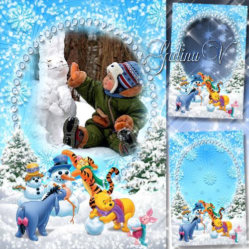 Детская новогодняя рамка - Снеговик в наряде снежном