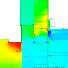 Photo: 2D DETAIL GROUND FLUX - A A heat flux visualisation from AnTherm, showing a high resolution close up of the wall/floor junction