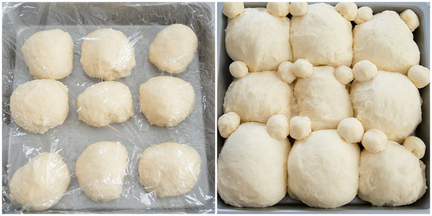 process photo collage showing the nine dough balls resting and the dough in the baking pan ready to be baked