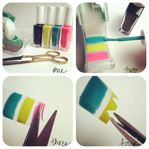 Nail paint on cello tape.  Easy for you to stick on your nails