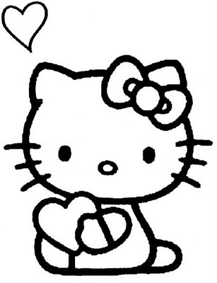 Hello Kitty with hearts coloring pages