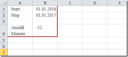 Excel Anzahl Monate zwischen zwei Daten