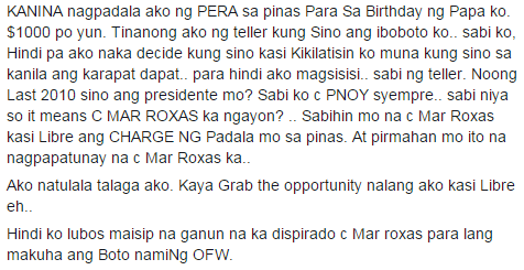 Image of Disturbing OFW Experience When Mar Roxas Campaigning Abroad