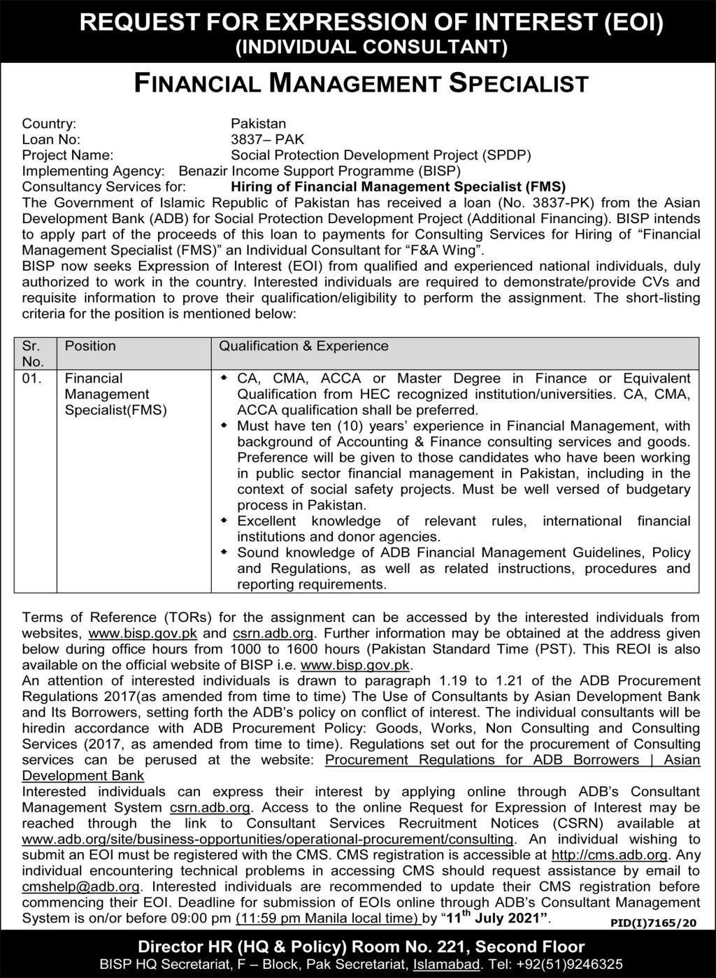 BISP Jobs 2021 Benazir Income Support Program