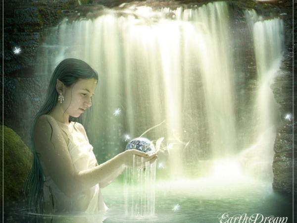 Amazing Elven Girl In Waterfall, Sorceress 1