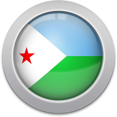Djiboutian flag icon with a silver frame