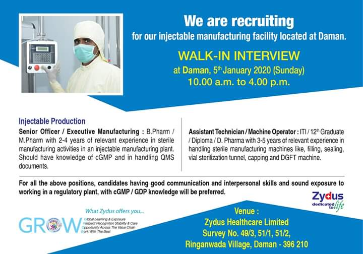 Zydus Cadila - Walk-In Interview for Multiple Positions on 5th Jan' 2020 @ Daman